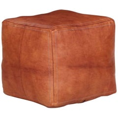 Stitched Caramel Leather Square Ottoman Pouf Footstool, 20th Century