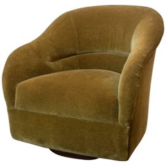 Ward Bennett Swivel Chair in Donghia Mohair