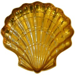 Large Clam Shaped Brass Bowl, Italy