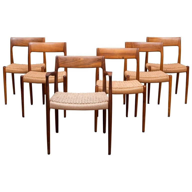 Set of Six Rosewood J.L. Møller Dining Chairs 1