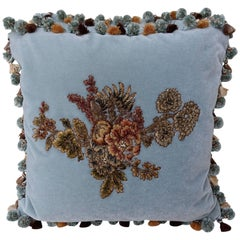 Light Blue Velvet Pillows with Floral Appliqué and Round Tassel Trim, A Pair