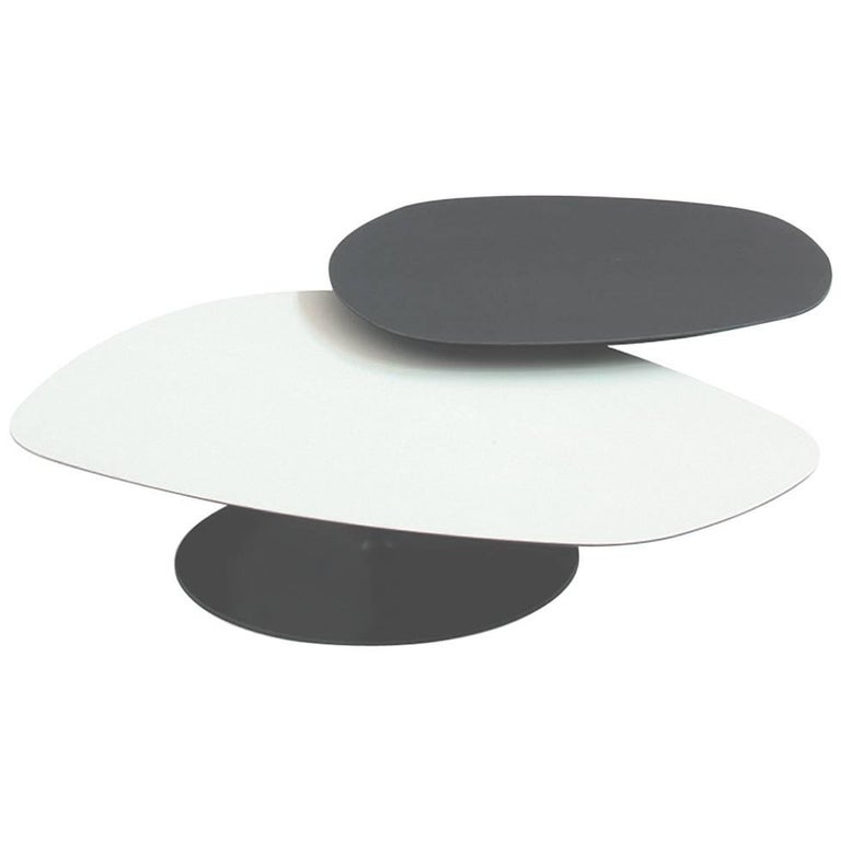 Moroso Phoenix Coffee Table with Metal Pedestal Base & Various Color Top Options