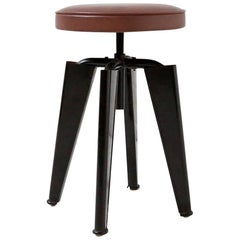 Jules Leleu, Adjustable Height Stool, circa 1945 in the Style of Prouve