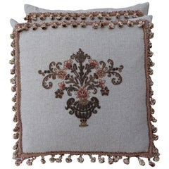 Custom Appliquéd Linen Pillows with Floral Urn