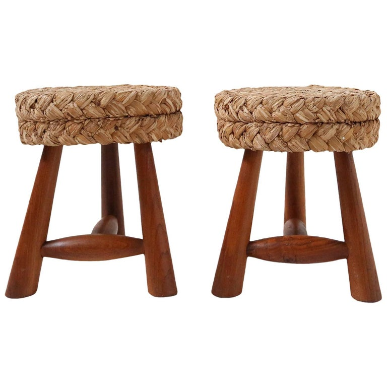 Pair of French Adrien Audoux & Frida Minet Stools 1950s in the Style of Perriand