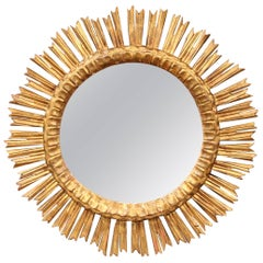 Large Mid-20th Century French Giltwood Sunburst Mirror