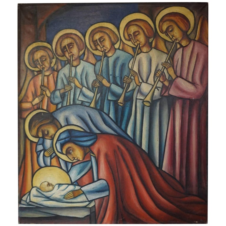Religious Art Deco Birth of Christ Painting with Jozef and Mary and Angels
