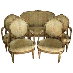 Fine French 19th Century Louis XVI Style Giltwood Carved Five-Piece Salon Suite