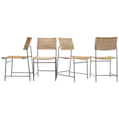 Set of Four Herta-Maria Witzemann Rattan and Wire Dining Chairs