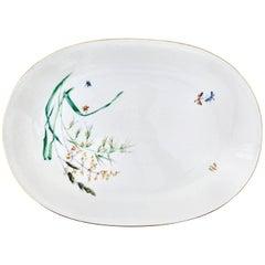 Vintage German Porcelain and 22 Karat Gold Organic Form Oval Platter by H & C