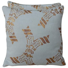 Pair of Gold Stencilled Nomi Linen Pillows