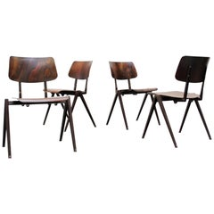 Set of Four Prouve Inspired Wenge Stacking School Chairs
