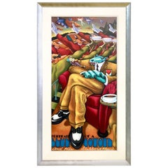 """Serigraph on Canvas """"Portrait of a Blue Coyote"""" Signed by Markus Pierson"""