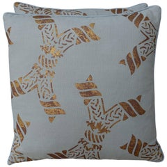 Pair of Gold Stenciled Nomi Linen Pillows by Melissa Levinson