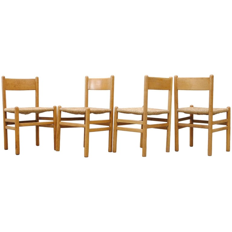 Set of Four Perriand Style Rush Chairs