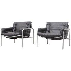 Pair of Black Leather Martin Visser SZ07 Nagoya Osaka Lounge Chairs