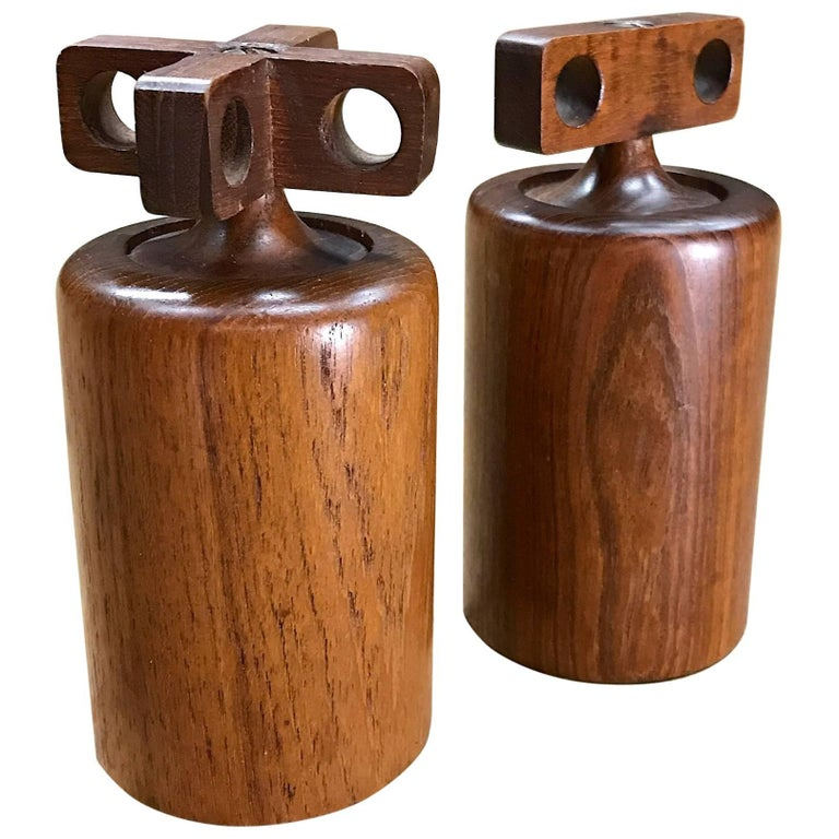 1950s Birgit Krogh Teak Salt Pepper Mills Danish Mid-Century Modern For Sale