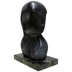 "Black Marble Figurative Sculpture Signed ""Yospin"""