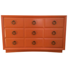 Widdicomb Commode by Robsjohn-Gibbings in Hermes Orange Lacquer