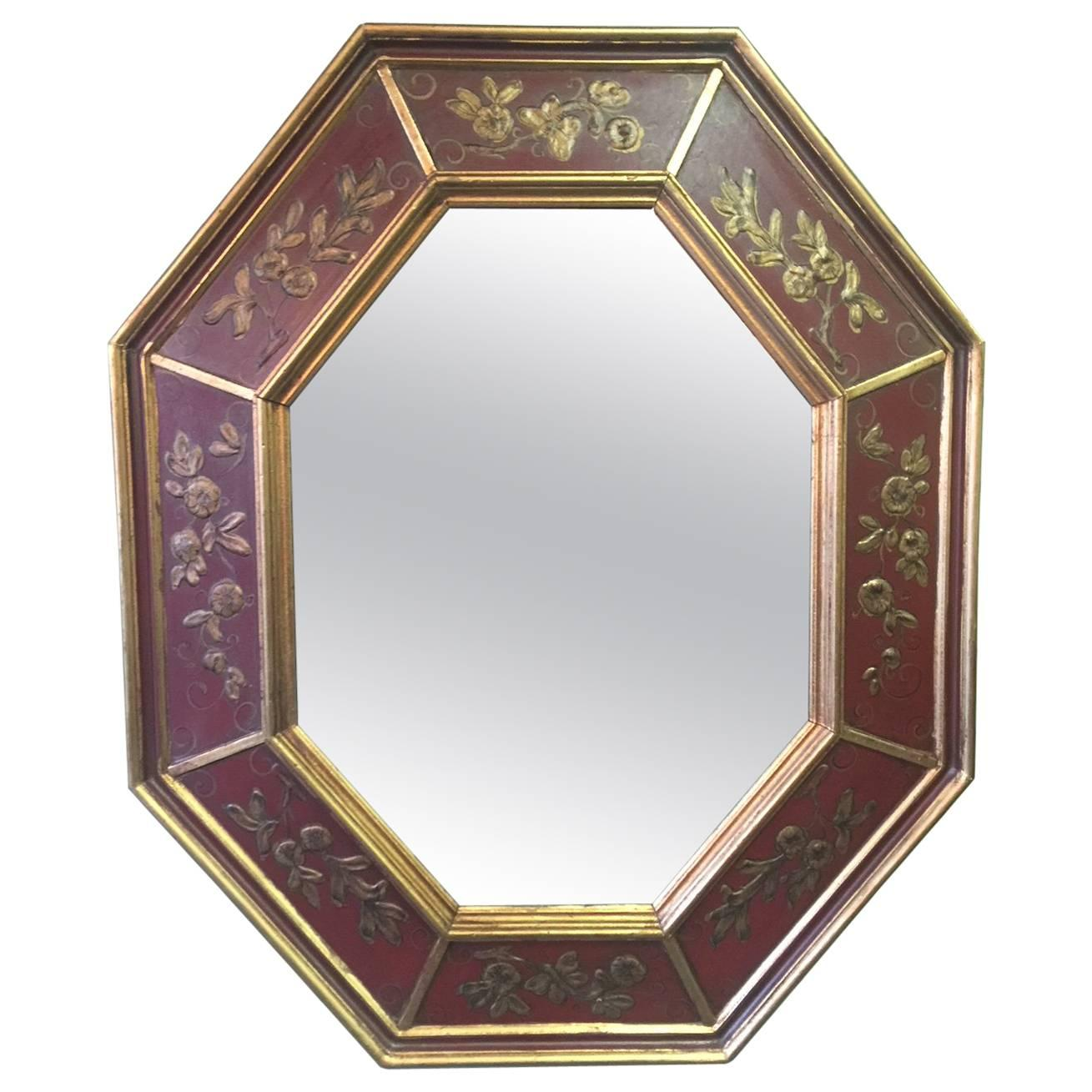 Midcentury Hand-Painted Gold Leaf Octagonal Mirror by La Barge of Italy