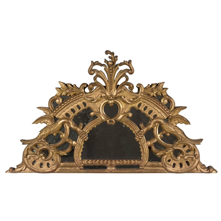 18th Century French Gilded Demilune Mirror