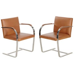 Pair of Steel and Leather BRNO Arm Chairs by Mies Van Der Rohe for Knoll