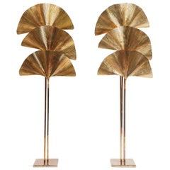 Carlo Giorgi for Bottega Gadda Pair of Ginkgo Leaf Floor Lamps, Italy, 1970s