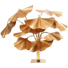 Carlo Giorgi for Bottega Gadda Rare 10-Leaf Gingko Floor Lamp, Italy, 1970s