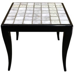 Italian Midcentury White Tiled Side Table