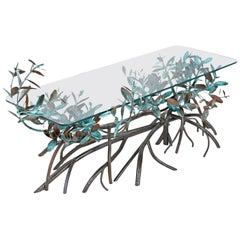 Midcentury Silas Seandel Style Metal Mangrove Tree Leaf Glass Top Coffee Table