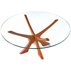 "Danish Teak ""JAX"" Base Glass Top Coffee Table by Illum Wikkelsø, 1950s"