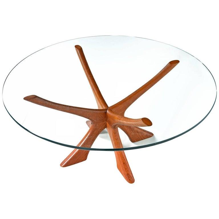 "Danish Teak ""JAX"" Base Glass Top Coffee Table by Illum Wikkelsø, 1950s"