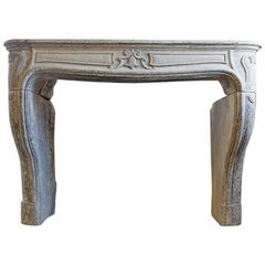 19th Century Antique Limestone Fireplace in Style of Louis XV