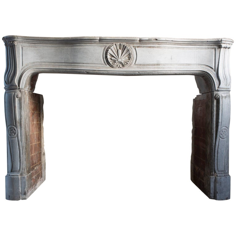 19th Century Antique Marble Stone Fireplace in Louis XV Style