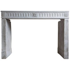 Limestone Antique Fireplace in Style of Louis XVI