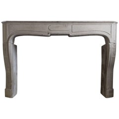19th Century Antique Fireplace of Limestone Louis XV Style