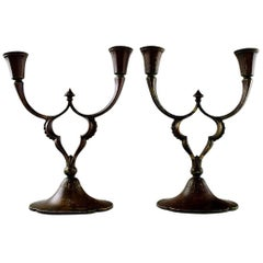 Just Andersen, Pair of Two-Armed Candelabras of Patinated Bronze