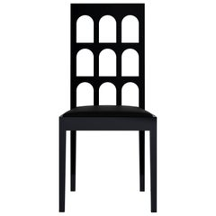 Italy Arch Black Chair 'Black Lacquered Wood'
