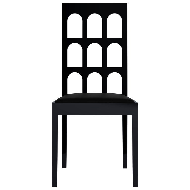 Italy Black Chair 'Lacquered Wood' by Dmitry Samygin 1