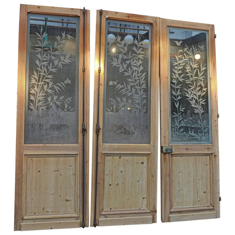 Set of three french art nouveau craved glass doors circa for French doors no glass