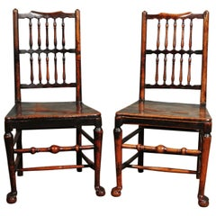 Pair of 18th Century Elm Spindle Back Chairs with Exemplary Patina, circa 1750