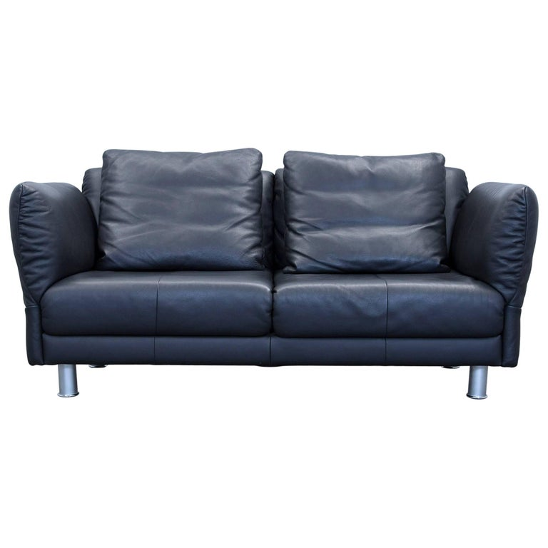 rolf benz designer sofa black leather two seat couch modern function at 1stdibs. Black Bedroom Furniture Sets. Home Design Ideas