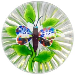 Baccarat Butterfly over Clematis Paperweight
