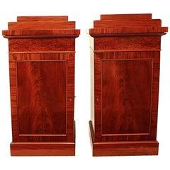 Pair of German Empire Flame Mahogany Pedestal Cabinets, Berlin, circa 1810