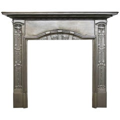 Antique Edwardian Art Nouveau Cast Iron Fireplace Surround
