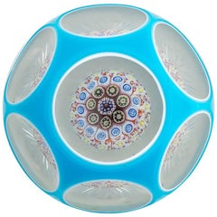 Baccarat Millefiori Mushroom Turquoise Blue Double Overlay Paperweight