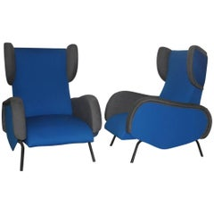 Mid-Century Modern Armchairs Italian  Design Blue Grey Color High Back