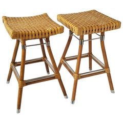 Exceptional Pair of McGuire Bamboo Bar Stool with Rawhide Seating, 1980s, USA