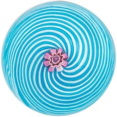 Clichy Blue and White Swirl Paperweight