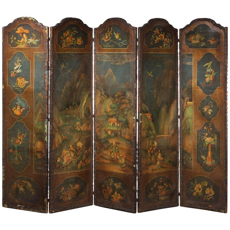 Mid-19th Century Five-Fold Screen on Canvas Ground